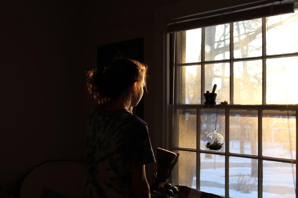 Lucia utanför fönstret